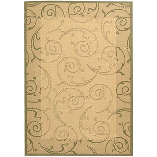 Safavieh Oasis Scrollwork Natural/ Olive Green Indoor/ Outdoor Rug (2'7 x 5')
