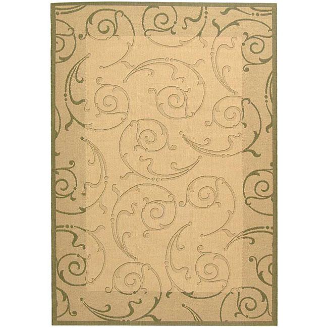 Safavieh Oasis Scrollwork Natural/ Olive Green Indoor/ Outdoor Rug (6'7 x 9'6)