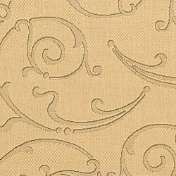 Safavieh Oasis Scrollwork Natural/ Olive Green Indoor/ Outdoor Rug (6'7 x 9'6) - Thumbnail 1