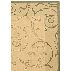 Safavieh Oasis Scrollwork Natural/ Olive Green Indoor/ Outdoor Rug (6'7 x 9'6) - Thumbnail 2