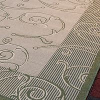"Safavieh Oasis Scrollwork Natural/ Olive Green Indoor/ Outdoor Rug - 6'-7"" x 9'-6"""