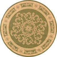 Safavieh Sunny Medallion Olive Green/ Natural Indoor/ Outdoor Rug (5'3 Round) - 5'3 round