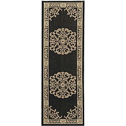 Safavieh Sunny Medallion Black/ Sand Indoor/ Outdoor Rug (2'4 x 6'7)