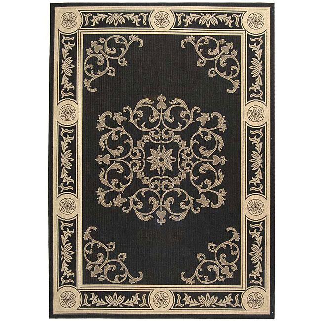 Safavieh Sunny Medallion Black/ Sand Indoor/ Outdoor Rug (5'3 x 7'7)