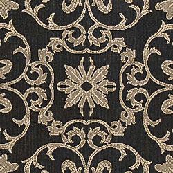 Safavieh Sunny Medallion Black/ Sand Indoor/ Outdoor Rug (6'7 x 9'6) - Thumbnail 1