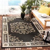 "Safavieh Sunny Medallion Black/ Sand Indoor/ Outdoor Rug - 6'-7"" x 9'-6"""