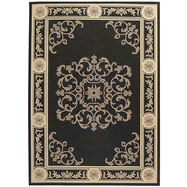Safavieh Sunny Medallion Black/ Sand Indoor/ Outdoor Rug - 8' x 11'