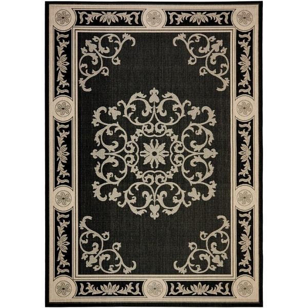 Safavieh Sunny Medallion Black/ Sand Indoor/ Outdoor Rug - 8' X 11'