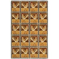 """Safavieh Hand-hooked Country Hens Gold Wool Rug - 5'3"""" x 8'3"""""""