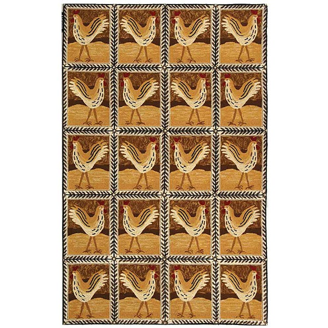 Safavieh Hand-hooked Country Hens Gold Wool Rug (6' x 9')