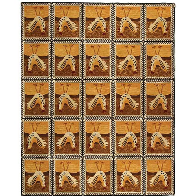 Safavieh Hand-hooked Country Hens Gold Wool Rug - 7'9 x 9'9