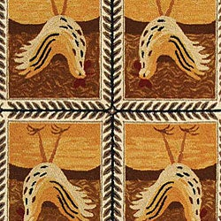Safavieh Hand-hooked Country Hens Gold Wool Rug (7'9 x 9'9) - Thumbnail 1