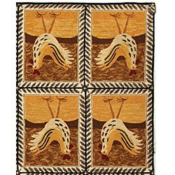Safavieh Hand-hooked Country Hens Gold Wool Rug (7'9 x 9'9) - Thumbnail 2