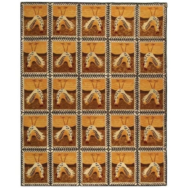 """Safavieh Hand-hooked Country Hens Gold Wool Rug - 7'9"""" x 9'9"""""""