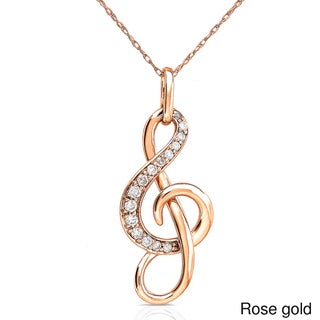 Annello by Kobelli 14k Gold 1/6ct TDW Diamond Musical Note Necklace