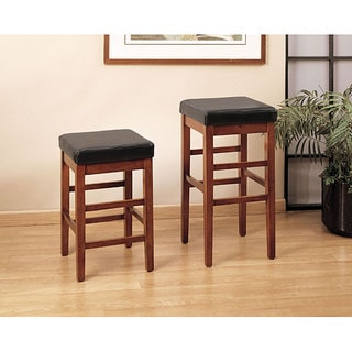 Sonata Square Leather Seat Backless Barstool
