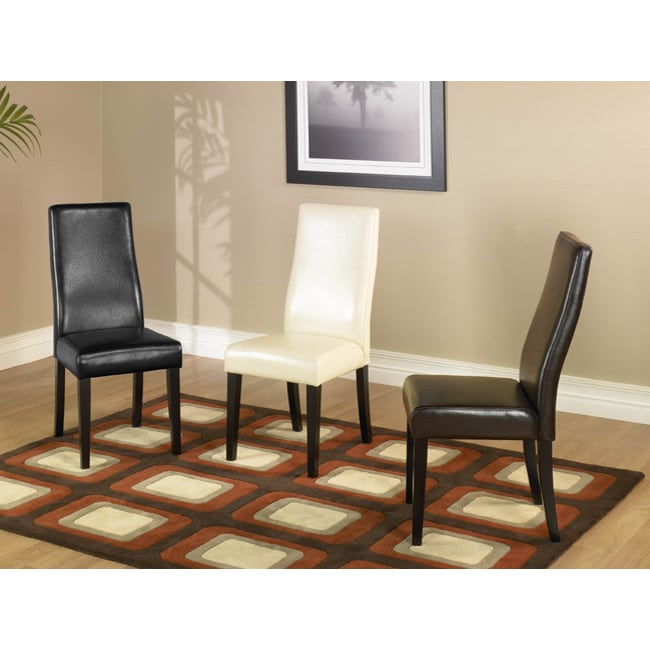 Curved-back Bicast Leather Side Chairs (Set of 2)