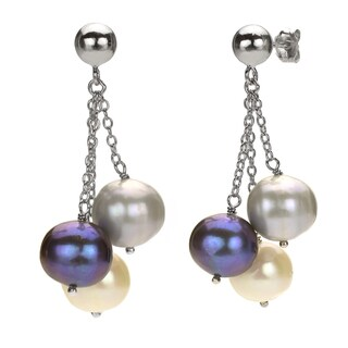 DaVonna Silver Grey Black and White FW Pearl Drop Earrings with Gift Box - Grey/Black