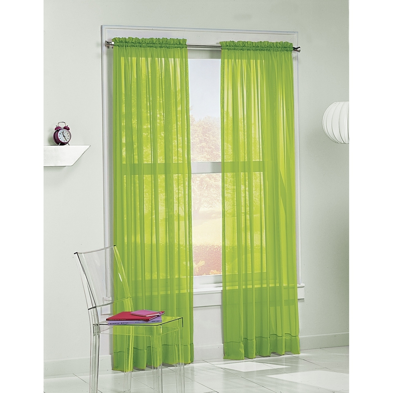 No. 918 Calypso 84-inch Curtain Panel (Lime), Green, Size...