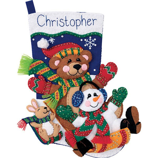 'Toboggan Trio' Stocking Felt Applique Kit