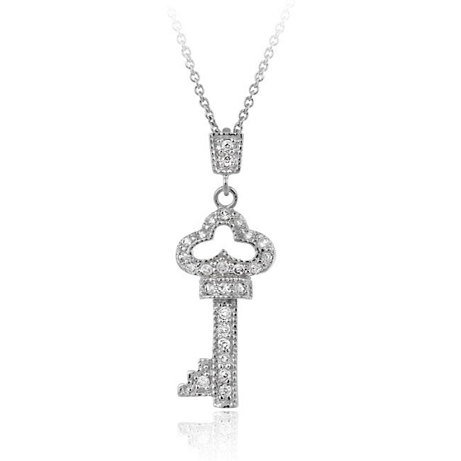 Icz Stonez Sterling Silver Cubic Zirconia Key Necklace