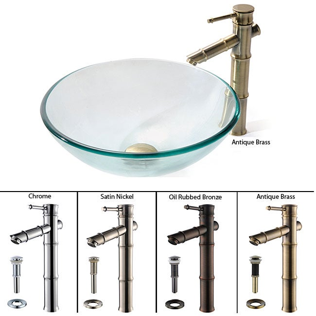 Kraus Clear Glass Vessel Sink/ Bamboo Sytle Bathroom Faucet