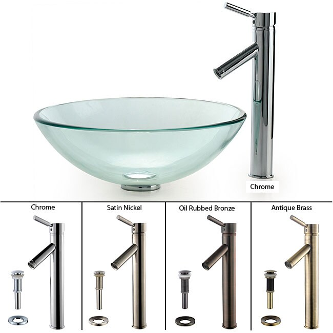 KRAUS Glass Vessel Sink with Sheven Faucet in Satin Nickel