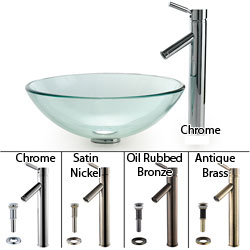 KRAUS Glass Vessel Sink with Sheven Faucet