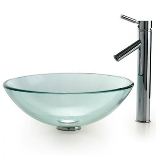 Kraus 4-in-1 Bathroom Set C-GV-101-12mm-1002 Clear Glass Vessel Sink, Sheven Faucet, Pop Up Drain, Mounting Ring