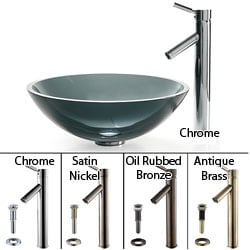 KRAUS Glass Vessel Sink in Black with Single Hole Single-Handle Sheven Faucet in Chrome