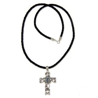 Balinese Cross Handmade Christian Women's Clothing Accessory Pendant Sterling Silver Blue Topaz Jewe