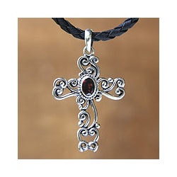 Balinese Cross Handmade Christian Women's Clothing Accessory Pendant Sterling Silver Red Garnet Jewelry Necklace (Indonesia)
