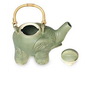 Handmade Ceramic 'Elephant Green Tea' Teapot (Indonesia)