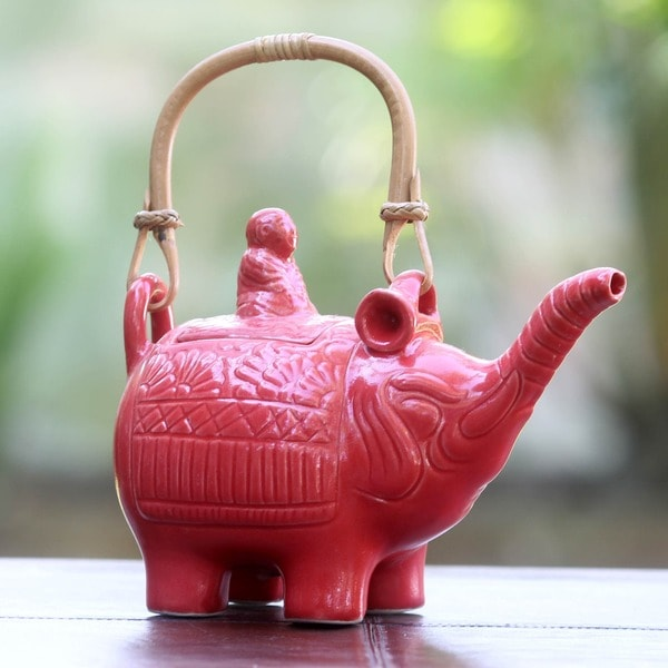 Ceramic 'Buddha and the Ruby Elephant' Teapot (Indonesia)