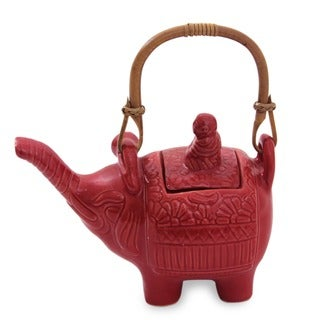 Handmade Ceramic 'Buddha and the Ruby Elephant' Teapot (Indonesia)