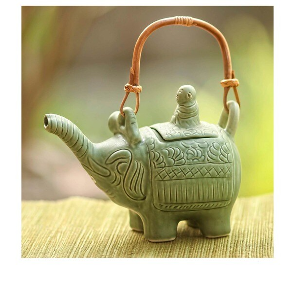 Handmade Ceramic 'Buddha and the Jade Elephant' Teapot (Indonesia)