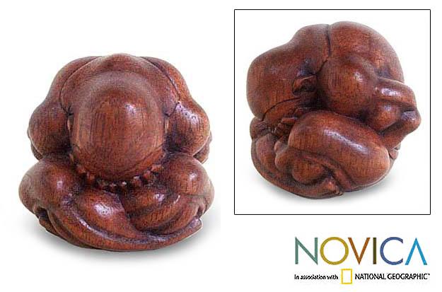 Handmade Wood 'Meditating Yogi' Statuette (Indonesia)