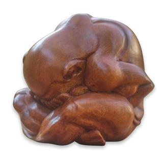 "Handmade Meditating Yogi Wood Statuette (Indonesia) - 3.2"" x 3.2"""