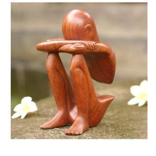 Abstract Rest Artisan Handmade Contemporary Modern Art Natural Brown Wood Human Figure Home Decor Gift Statuette (Indonesia)