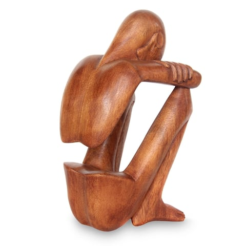 Abstract Rest Artisan Handmade Contemporary Modern Art Natural Brown Wood Human Figure Home Decor Gi