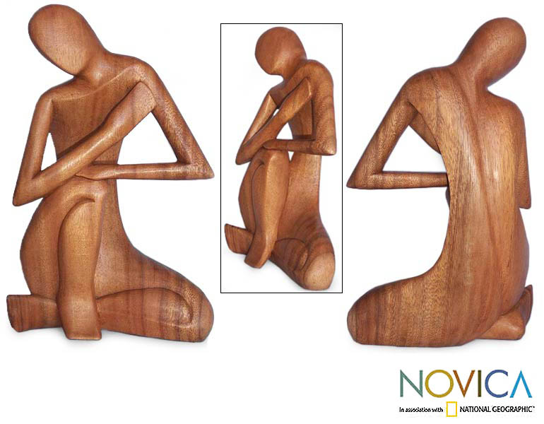 Lost in Thought' Wood Statuette, Handmade in Indonesia