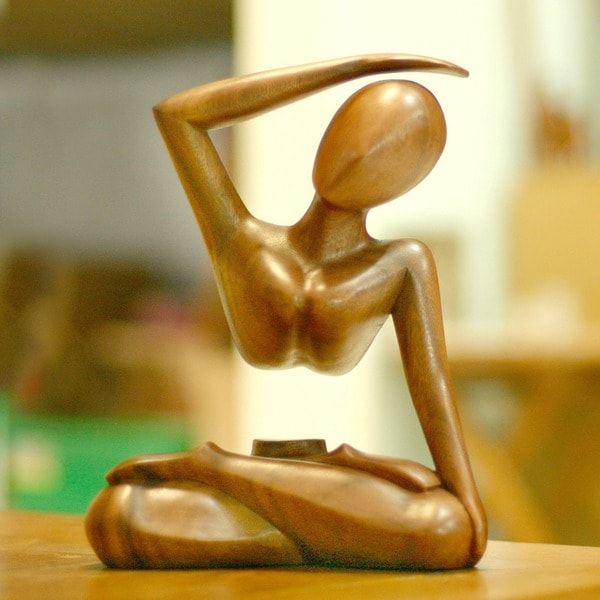 Wood 'Graceful Arc' Statuette, Handmade in Indonesia