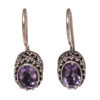 Handmade Silver 'Lilac Spell' Amethyst Earrings (Indonesia)