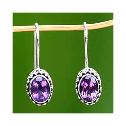 Silver 'Lilac Spell' Amethyst Earrings (Indonesia)