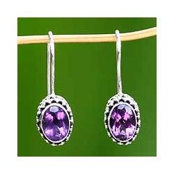 Handmade Silver 'Lilac Spell' Amethyst Earrings (Indonesia)