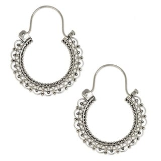 Balinese Lace of 925 Sterling Silver with Repeat Heart Motif Vintage Look Bohemian Womens Endless Hoop Earrings (Indonesia)