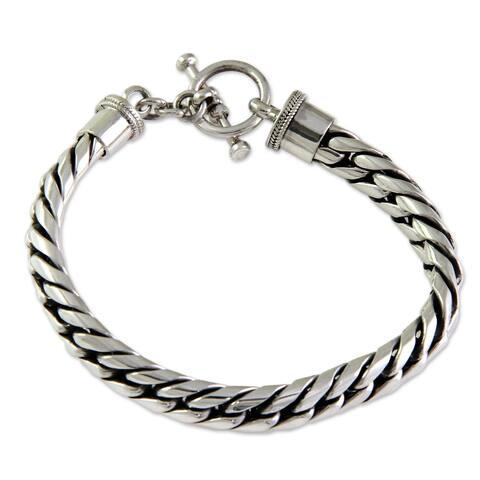 Handmade Elegant 925 Sterling Silver Herringbone Womens Bracelet (Indonesia)