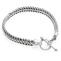 Handmade Links of Masculine Power Sturdy Link Chain with Toggle Clasp Closurure 925 Sterling Silver Mens Brac (Indonesia)