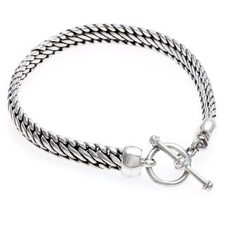 Handmade Link Chain with Toggle Clasp Closure .925 Sterling Silver Bracelet