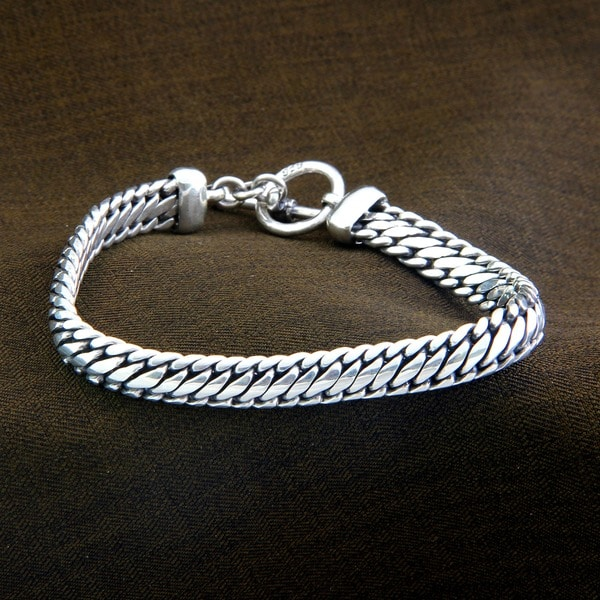 Links of Masculine Power Sturdy Link Chain with Toggle Clasp Closurure 925 Sterling Silver Mens Bracelet (Indonesia)